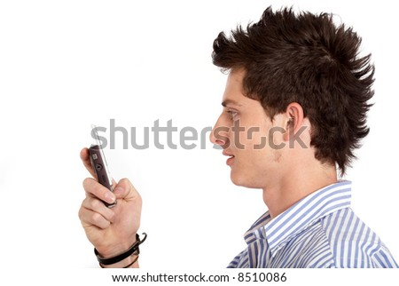 casual man texting on the phone smiling - isolated over a white background - stock photo