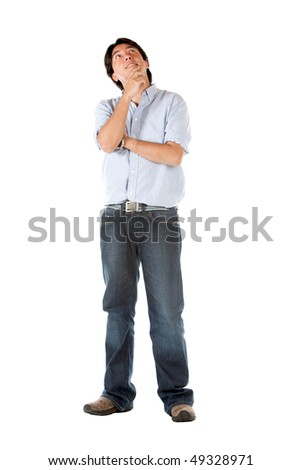 casual man thinking isolated over a white background
