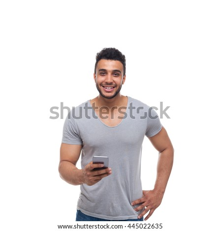 Casual Man Using Cell Smart Phone Smile Young Handsome Guy Wear Shirt Jeans Isolated White Background - stock photo