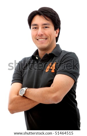 Casual man with arms crossed and smiling - isolated over white - stock photo