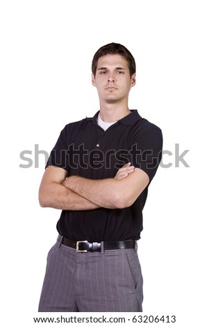 Casual Man with his Arms Crossed  Posing - Isolated Background - stock photo