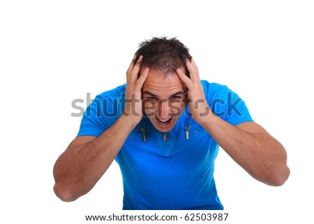 casual man worried  Isolated over white background
