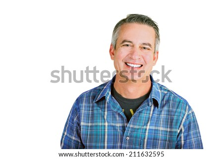 Casual mature man on a white background - stock photo
