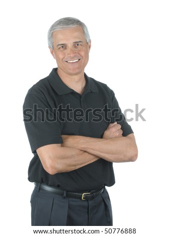 Casual Middle Aged Businessman with Wearing Slack and Golf Shirt with his Arms Folded isolated over white - stock photo