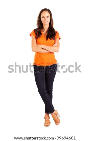 casual middle aged woman full length portrait - stock photo