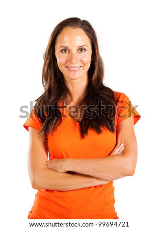 casual middle aged woman portrait over white - stock photo