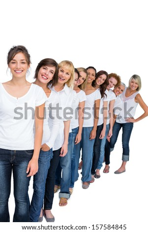 Casual models in a line looking at camera on white background