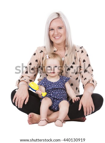 casual mother sitting with her daugher on white isolated background