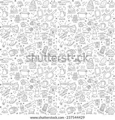 Casual objects seamless pattern Draw of usual objects, which often take a photo on the camera. Black and white  seamless pattern. - stock photo