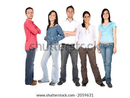 casual people - full body over a white background
