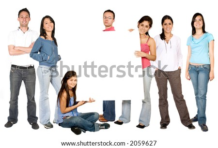 casual people with a white board in the middle over a white background - stock photo