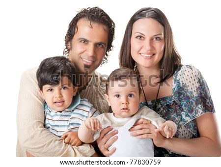 Casual portrait of a attractive young family, isolated on white - stock photo