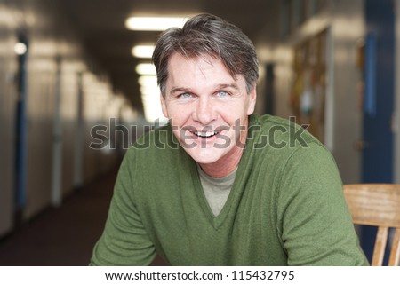 casual portrait of a mature, happy man - stock photo