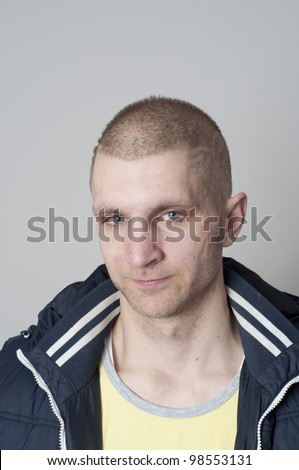 Casual portrait of 24 year old caucasian man - stock photo