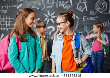 Casual schoolgirls - stock photo