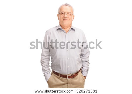 Casual senior gentleman in a gray shirt posing and smiling isolated on white background - stock photo