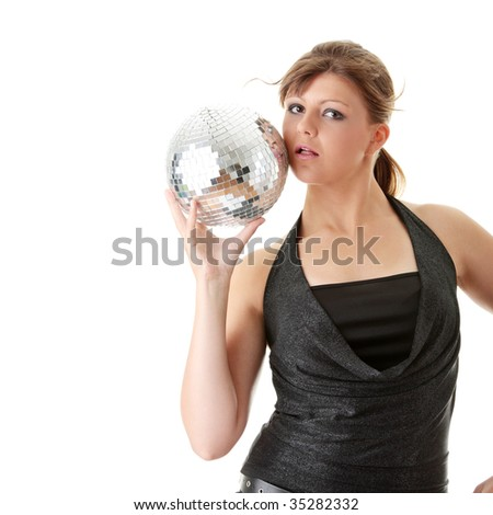 Casual showgirl girl with mirror ball background