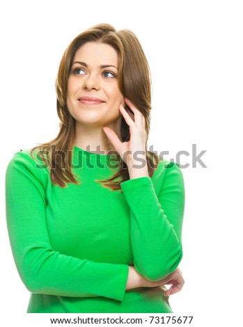 Casual smiling woman isolated on white background - stock photo