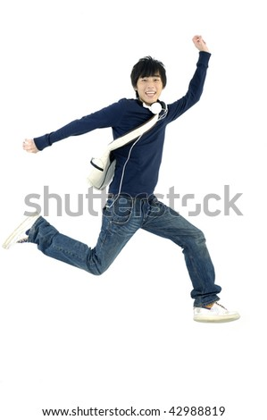 casual student jumping over white - stock photo