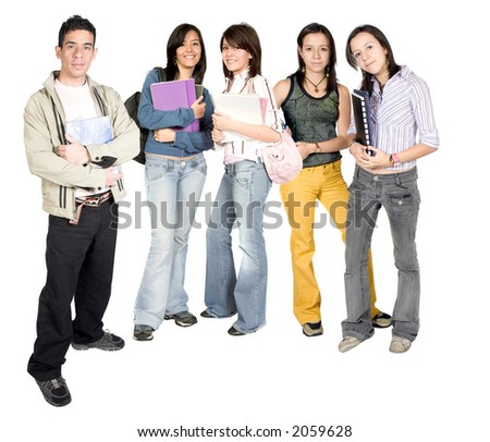 casual students standing over a white background - stock photo