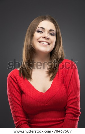 Casual style woman portrait. Isolated over gray background - stock photo