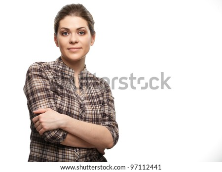 Casual style woman portrait. Isolated over white background - stock photo