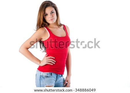 Casual tank top and jeans - stock photo