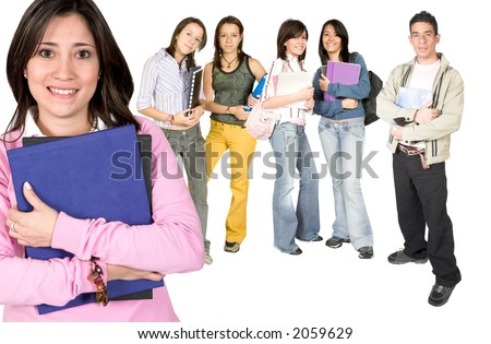 casual teacher and her students over white - stock photo