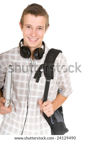 casual teen preparing to school standing on white background