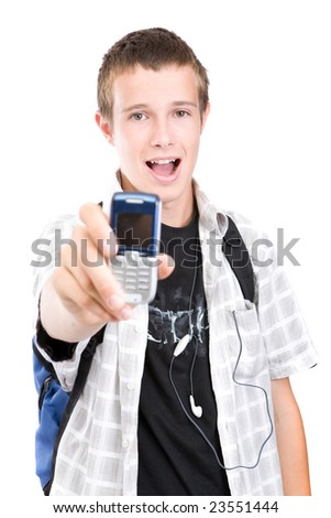 casual teen with mobile phone - stock photo