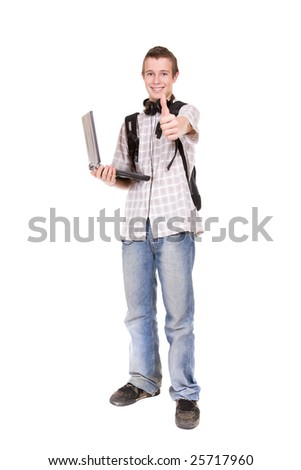 casual teenager with laptop. over white background - stock photo