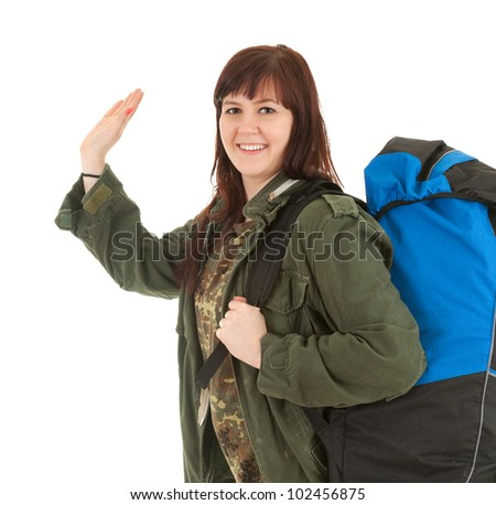 casual tourist girl with backpack, white background - stock photo