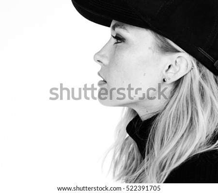 Casual Woman Cap Expression Portrait Concept