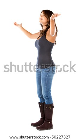 Casual woman full of success with her arms up over a white background
