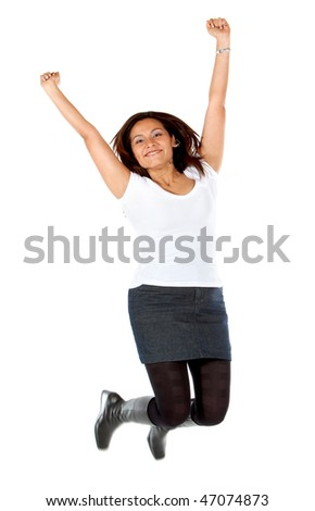Casual woman jumping isolated over a white background