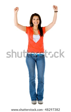 casual woman looking happy with her arms up isolated over a white background - stock photo