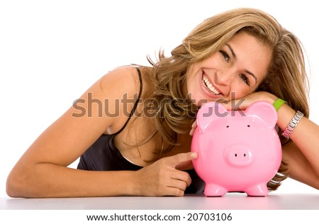 casual woman looking to save money in a piggy bank - stock photo