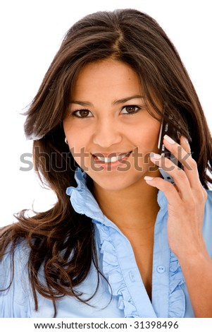 casual woman on the phone - isolated over a white background