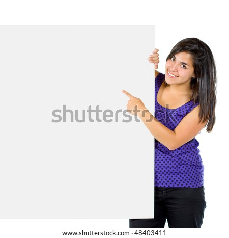 casual woman pointing something on a banner ad isolated over a white background - stock photo