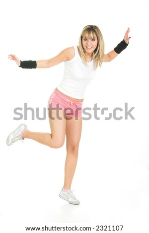 Casual woman pose. Young woman  balance in space - stock photo