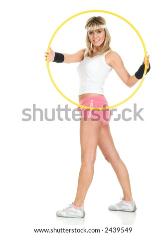 Casual woman pose. Young woman in big circle. Self confidence concept - stock photo