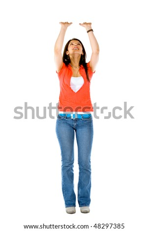 casual woman pushing something up isolated over a white background - stock photo