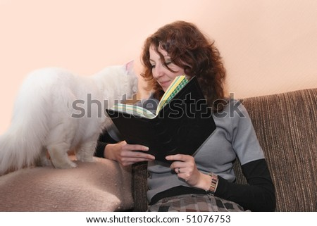 Casual woman reading at home. She looking at the white cat. - stock photo