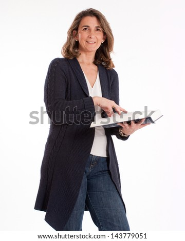 Casual woman reading book - stock photo