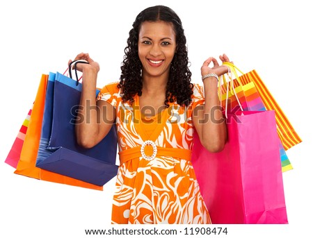 Casual woman shopping bags isolated over a white background - stock photo