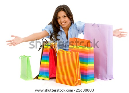 casual woman shopping isolated over a white background - stock photo