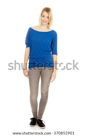Casual woman smiling. - stock photo