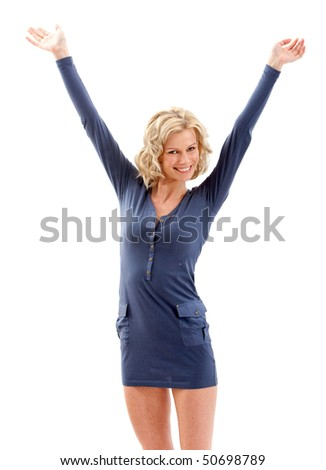 Casual woman smiling full of joy with her arms up - Isolated over a white background - stock photo