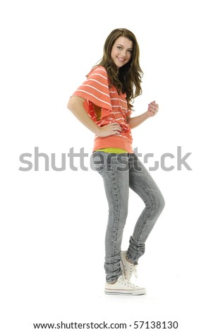 casual woman smiling isolated over a white - stock photo