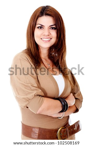 Casual woman smiling - isolated over a white background - stock photo